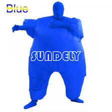 Blue Chub Suit Inflatable Blow Full Body Costume Jumpsuit Fancy Dress Fat Guy