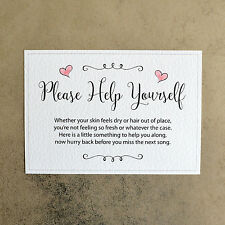Please Help Yourself Wedding Toiletry Sign - 260gsm Hammer Card - Pink Hearts