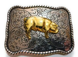 ♈ Silver and Gold finish Belt Buckle Farm Country BOAR hog hawgs pig farmers