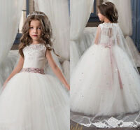 Tulle Lace Flower Girl Dress Birthday Party First communion Dress Prom Gown