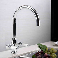 Kitchen Tap Sink Mixer Twin Lever Tap Swivel Modern Chrome Basin Waterfall Taps