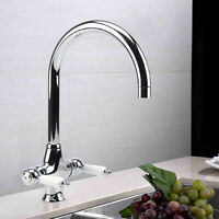 Traditional Kitchen Sink Mixer Taps Basin Twin Lever Tap Brass Chrome Faucet