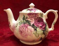 Royal Victorian Teapot England Floral Roses Fine Bone China 10-12 oz Vintage