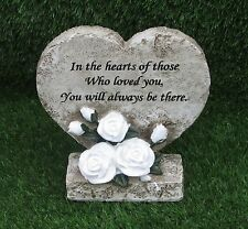 HEART & WHITE ROSE MEMORIAL PLAQUE WITH VERSE FOR GRAVE OR CEMETERY ORNAMENT