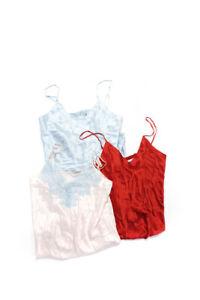 Ginia Womens Silk V-Neck Chemise Slip Dresses Red Blue Pink Size Medium Lot 3