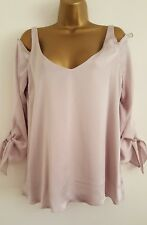 NEW Wallis 8-18 Metallic Lilac Pink Cold Shoulder Knot Sleeve Tunic Top Blouse