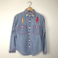 VTG 60s 70s Embroidered Chambray Shirt Floral Owl Cat Dog Women's Hippie Small