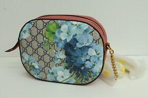 NEW Authentic Gucci Bloom Borsa Blue Flower Supreme Zip GG Canvas Shoulder Bag S