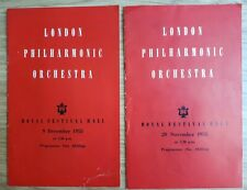 Lot of 2 1955 London Philharmonic Orchestra Programmes ADRIAN BOULT STANLEY BATE