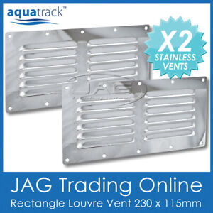 2 x STAINLESS STEEL RECTANGULAR 12 LOUVRE AIR VENTS 230x115mm Boat/Caravan/Wall