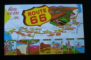 HERE WE ARE ON ROUTE 66, COLORFUL VTG PC ~ MAP FROM CHICAGO IL TO LOS ANGELES CA