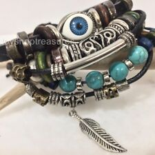 New Evil Eye Feather Turquoise Bracelet Leather Beads Surfer adjustable