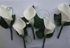 5 Buttonholes Wedding Flowers White Calla Lily & Foliage - Groom Bestman, Ushers