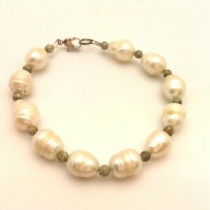 Vintage White Freshwater Baroque Pearls Beaded Bracelet Silver Plated Clasps