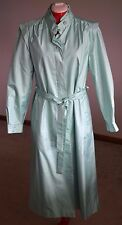Vintage Womens Spring Long Coat Green Size 14 Belt Button Lined Church Work