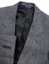 BURBERRY MENS 56 46 R BLAZER JACKET TWEED 100% CASHMERE GREY LUXURY MADE IN USA