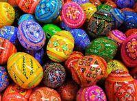 12 Wooden Hand Painted AUTHENTIC Ukrainian Easter Egg Eggs Pysanky Pysanka NEW