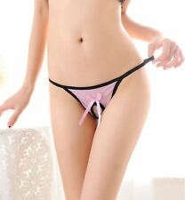 Sexy Pink Open Pearl Crotch Panties - L1226C
