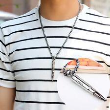 Hot Men Alloy Steel Open Bullet Hip Hop Punk Charm Pendant Necklac Chain Jewelry