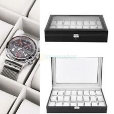 Large 24 Slot Wrist Watch Box Leather Display Case Organizer Jewelry Storage