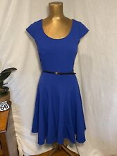 Calvin Klein Royal Blue belted Lined dress Fit-flare Cap Sleeve Zip Back Sz 2