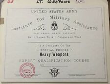 Institute For Military Assistance - Heavy Weapons Expert Certificate - Vintage