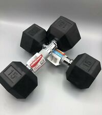 Weider New Hex Rubber 15 lb Pound Set of Two New Dumbbell Weights, 30lbs Total
