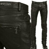 Hot Sell Men's Slim Fit Genuine Leather Motorcycle Pants Zipper Trousers Sz