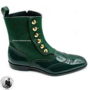 Handmade Men's Genuine Green Leather Wingtip Side Button Boots