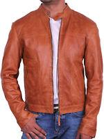 Men Leather Biker jacket -- Brandslock Designer Slim Fit  Leather Bomber Jacket