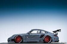 1/18 AB Models Porsche 911 LB Performance Liberty Walk in Matte Grey Red Wheels