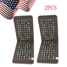 2Pcs Usa Stone heating mat Tourmaline Natural Jade Negative Ions InfraRed Pad