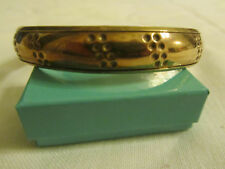 "Tarnished Look Brass Tone Patterned Bangle - 6.5cm diameter - 0.5"" wide"