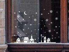 Christmas Sticker Shop Window Decoration Wall Stickers Christmas Snowflakes Town