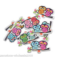 W09 20PCs Wood Buttons 2 Holes Cartoon Owl Couple Sewing Scrapbooking 3.5x2.1cm