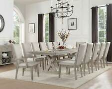 Traditional Gray Oak Dining Room - 13 piece Rectangular Table & Chairs Set ICAY