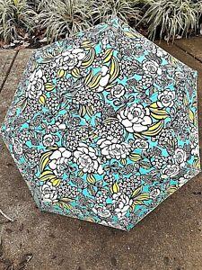 Colorful Vera Bradley compact, automatic umbrella, white, bright green, teal
