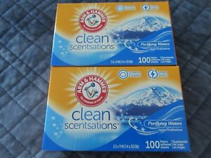 200 Arm & Hammer Clean Scentsations Purifying Waters Fabric Softener Sheets-New
