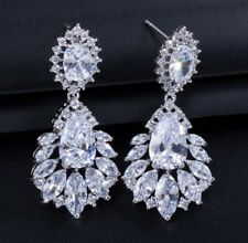 18k White Gold Drop Earrings made w Swarovski Crystal Clear Topaz Marquise Stone