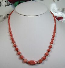 Genuine Natural Dark Pink Coral Necklace With 14K GF Clasp. Graduated. DCR005