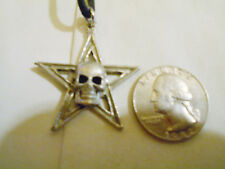 bling pewter 5 POINT STAR circle skull pendant charm rope chain hip hop necklace