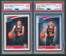 2018-19 Donruss Optic Trae Young Rated Rookie Holo Prizm PSA 8 Base PSA 9 LOT 6A