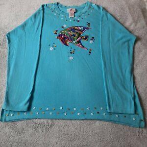 Quacker Factory Turqoise Blue Sequin Top Jumper Fish Sequin 2XL Embellishment