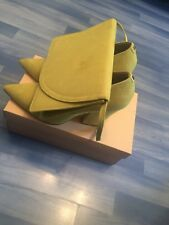Lime suede Faith Pointed block heels UK9/EU42 with Matching Clutch