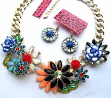 Betsey Johnson crystal multicolor flower gather Thick Necklace earring set#169T