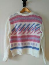 Vintage 1990s Faux Mohair Pastel Sweater L Hipster