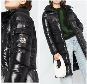 $1550 Moncler AUTH NEW Black Quilted Jacket 5 Moyadons Lacque Shiny Down Puffer