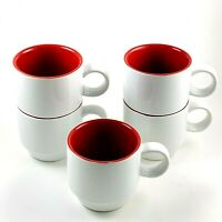 Crate & Barrel Stoneware Stacking Coffee Cups Mugs White Red Interior Set Of 5