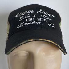 f20ddb801e8cbb Depot Saloon Grill & Hotel Merrillan WI Hat Mens Camo Baseball Ball Cap Hat  Lid