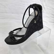 Coach Signature Women's Wedge Sandals  Ankle Straps black Leather Size 7.5 B